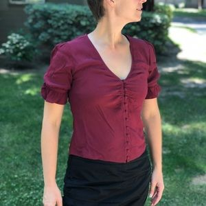 Madewell Cropped Deep Red Blouse